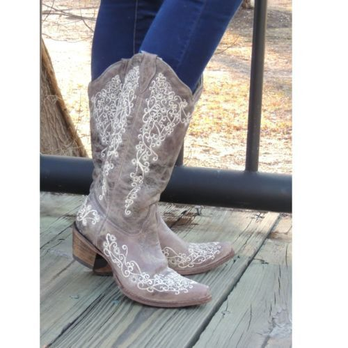 Corral Distressed Brown with Bone Embroidery Cowgirl Boots A1094 - Wild West Boot Store - 6