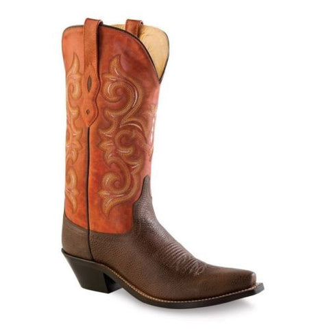 Old West Ladies Brown/Waxy Red Boot LF1543 - Wild West Boot Store
