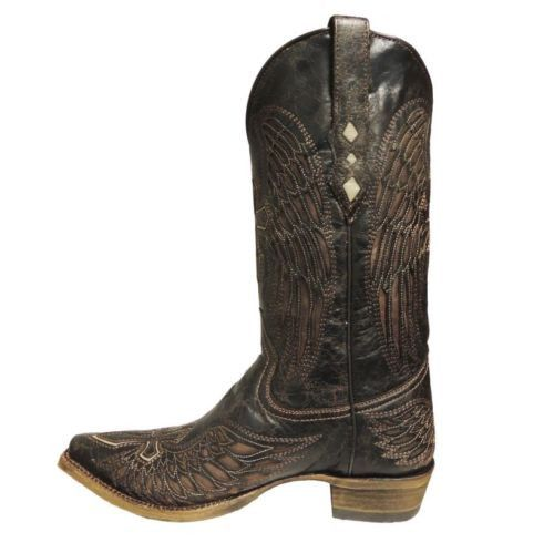 Corral Men's Boots Distressed Brown and Bone Wing and Cross A1961 - Wild West Boot Store - 2