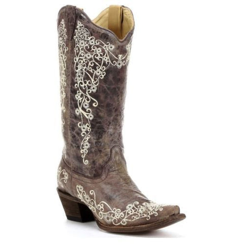 Corral Distressed Brown with Bone Embroidery Cowgirl Boots A1094 - Wild West Boot Store - 1