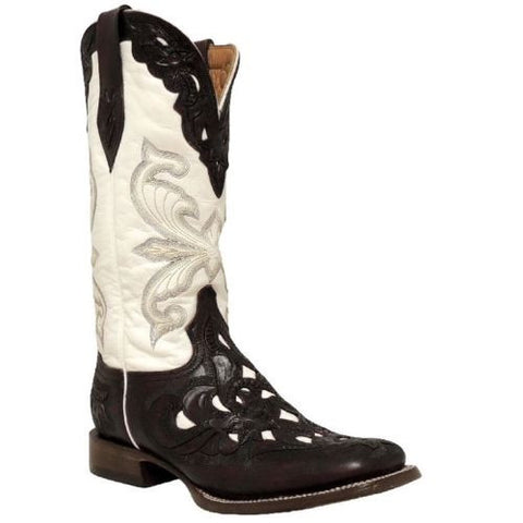 Stetson Ladies Mahogany Hand Tooled Boot 12-021-8861-0718 New - Wild West Boot Store - 1