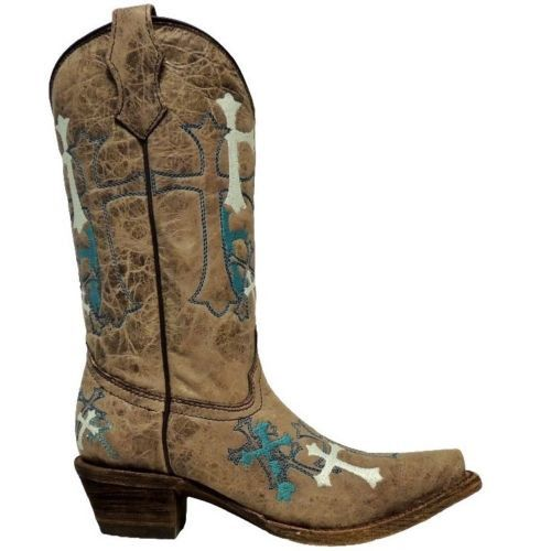 Corral Children's Grey/Turquoise Cross Boot A2853 - Wild West Boot Store - 2