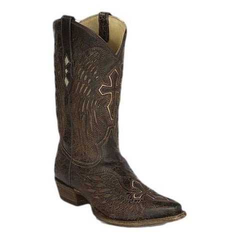 Corral Men's Boots Distressed Brown and Bone Wing and Cross A1961 - Wild West Boot Store - 1