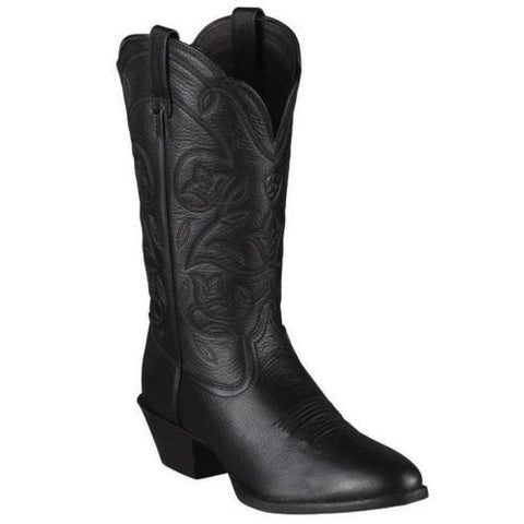 Ariat Ladies Heritage Western Black R Toe Deertan Boot 10001037 - Wild West Boot Store