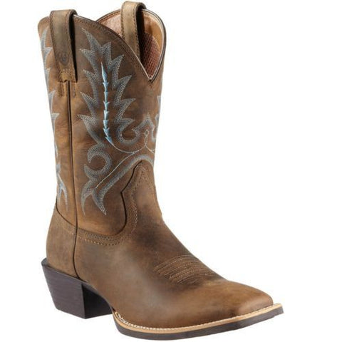 Ariat Men's Sport Outfitter Distressed Brown Square Toe Western Boots 10011801 - Wild West Boot Store
