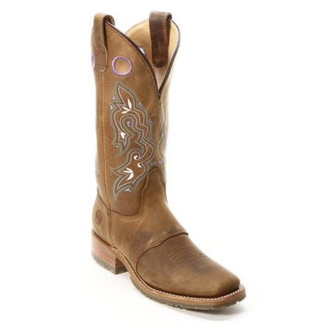 Double H Ladies Folklore Square Toe Distressed Brown Boot DH5477 - Wild West Boot Store - 1