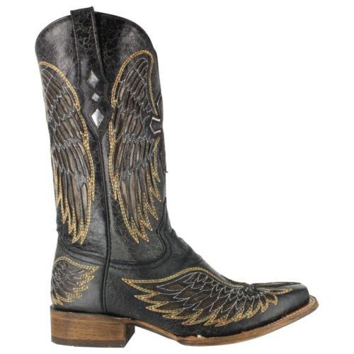 Corral Men's Black Cross And Wing Cowboy Boots A1972 - Wild West Boot Store - 2