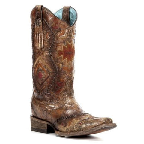 Corral Ladies Multicolor Ethnic Pattern Whip Stitch Cowgirl Boot C2915 - Wild West Boot Store - 1