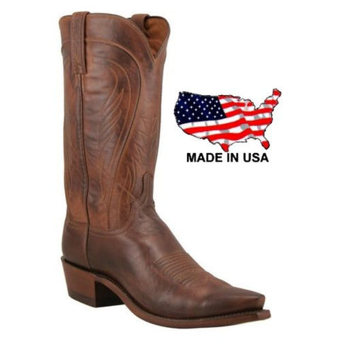 Lucchese Men's 1883 Tan Burnished Ranch Hand Calf Skin Boots N1596.54 - Wild West Boot Store - 1