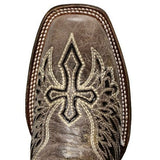 Corral Ladies Brown - Black Wing & Cross Sequence Square Toe Boots A1197 - Wild West Boot Store - 5