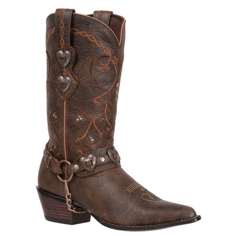 Durango Ladies Crush Brown Heartbreaker Concho Boot RD4155 - Wild West Boot Store - 1
