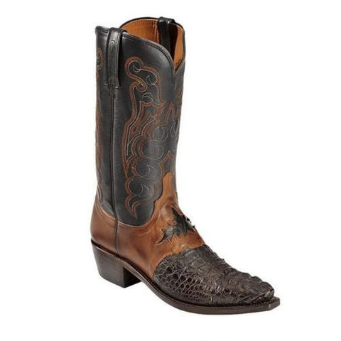 Lucchese Men's Barrell Brown Saddle Hornback Caiman Boots M2535.54 - Wild West Boot Store - 1