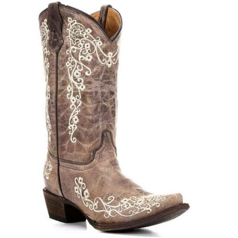 Corral Children's Brown with Bone Embroidery Cowgirl Boots A2773 - Wild West Boot Store - 1