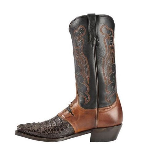 Lucchese Men's Barrell Brown Saddle Hornback Caiman Boots M2535.54 - Wild West Boot Store - 5