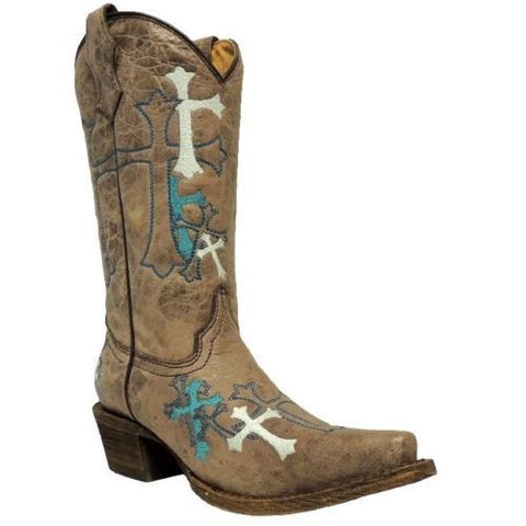 Corral Children's Grey/Turquoise Cross Boot A2853 - Wild West Boot Store - 1