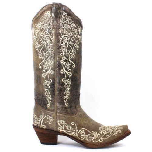 Corral Distressed Brown with Bone Embroidery Cowgirl Boots A1094 - Wild West Boot Store - 2