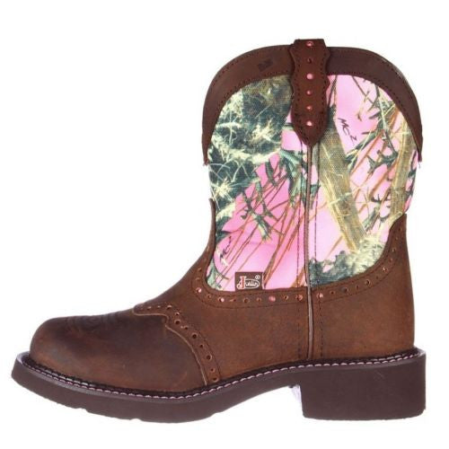 Justin Ladies Gypsy Aged Bark Pink Camo Boot L9610 - Wild West Boot Store - 5