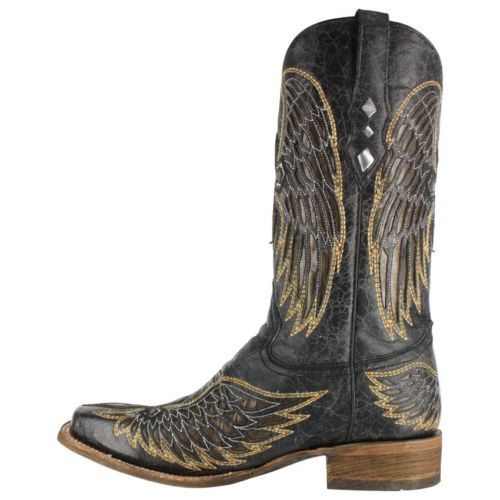Corral Men's Black Cross And Wing Cowboy Boots A1972 - Wild West Boot Store - 4