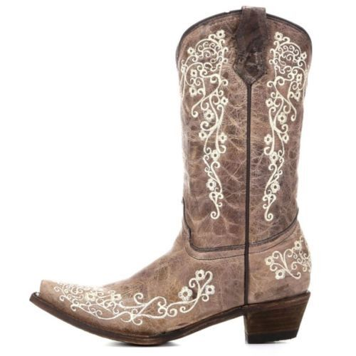 Corral Children's Brown with Bone Embroidery Cowgirl Boots A2773 - Wild West Boot Store - 5