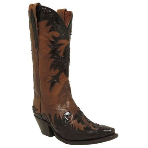 Dan Post Ladies Cognac/Chocolate Floral Boot DP3589 - Wild West Boot Store - 1