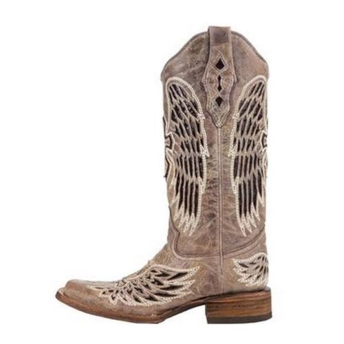 Corral Ladies Brown - Black Wing & Cross Sequence Square Toe Boots A1197 - Wild West Boot Store - 4