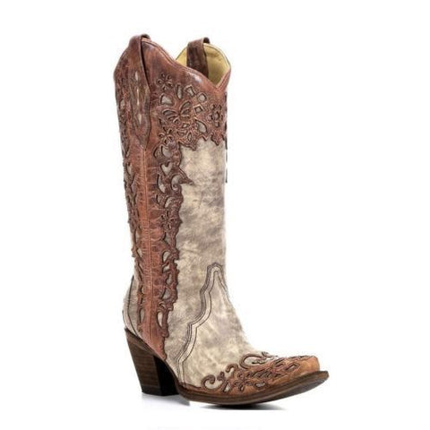 Corral Ladies Sand Cognac Laser Overlay Cowboy Boots A2665 - Wild West Boot Store - 1