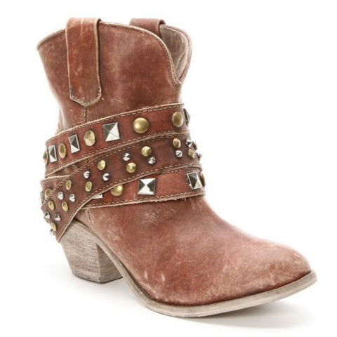 Corral Ladies Studded Strap Ankle Cowgirl Boots P5042 - Wild West Boot Store - 1