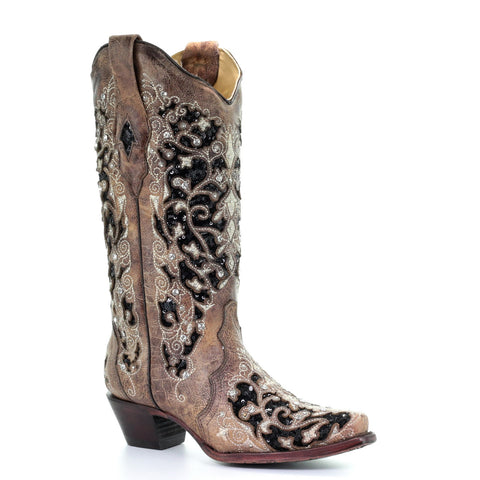 Corral Ladies Brown Floral Embroidery & Black Sequin Inlay Boots A3569 - Wild West Boot Store
