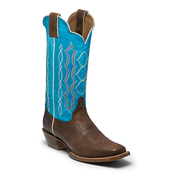 Justin Ladies Katia Chocolate & Blue Square Toe Boots BRL378 - Wild West Boot Store