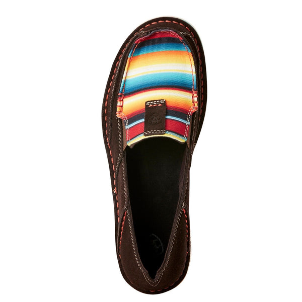 Ariat® Ladies Cruiser Chocolate Fudge Red Serape Print Shoes 10021153 - Wild West Boot Store