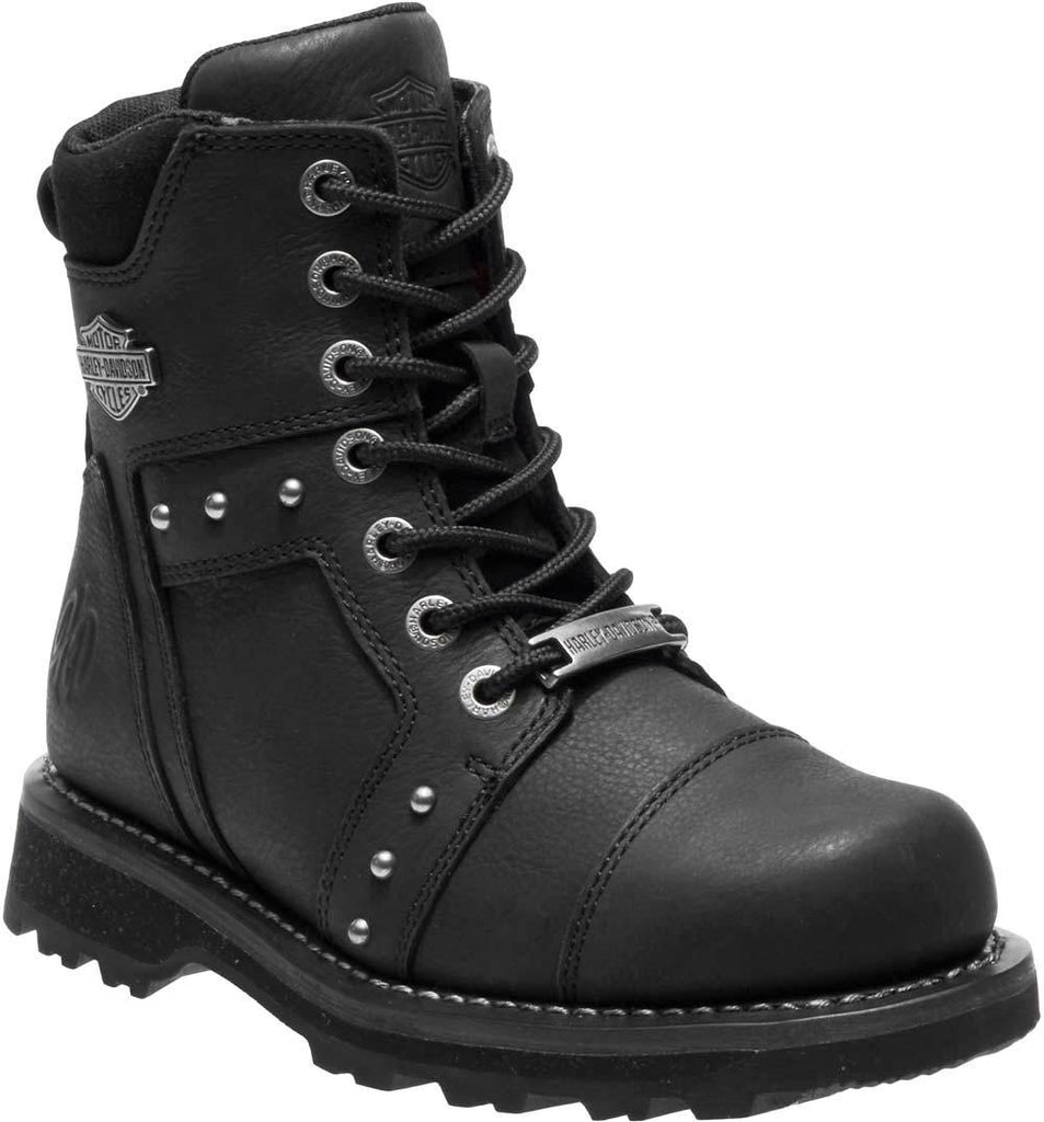 95b92bfeae8 Harley Davidson Ladies Oakleigh Black Lace-Up Motorcycle Boots ...
