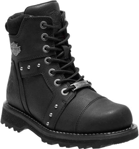 Harley Davidson Ladies Oakleigh Black Lace-Up Motorcycle Boots D84276