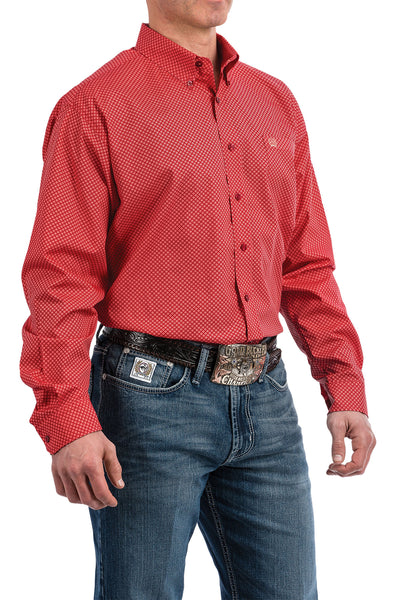 Cinch Men's Classic Red Plaid Long Sleeve Button-Down Shirt MTW1104803