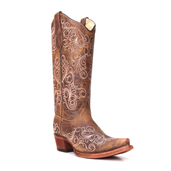 Circle G By Corral Ladies Tan Full Embroidery Boots L5418
