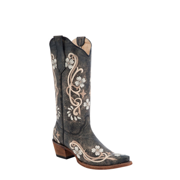 Circle G By Corral Ladies Black Floral Embroidery Boots L5175