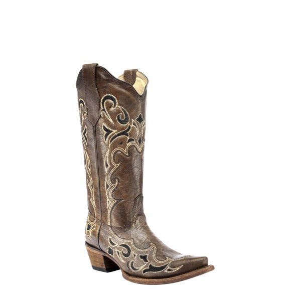 Circle G By Corral Ladies Brown & Black Side Embroidery Boots L5247