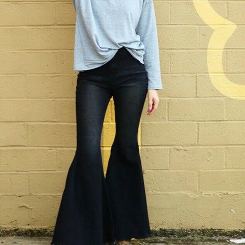Turquoise Haven Ladies Black Button Denim Bell Bottoms 8810-BLK