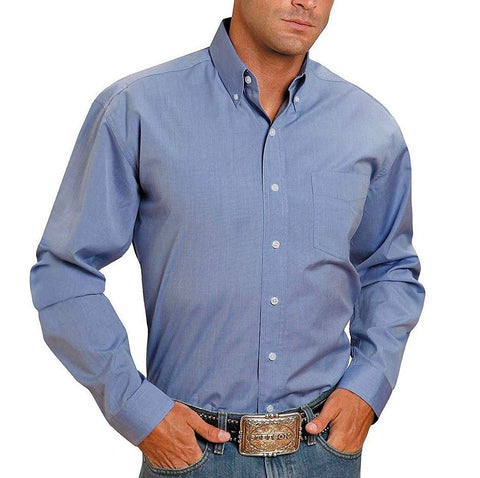 Stetson Men's Light Blue Solid Button Up Shirt 11-001-0566-0041 BU