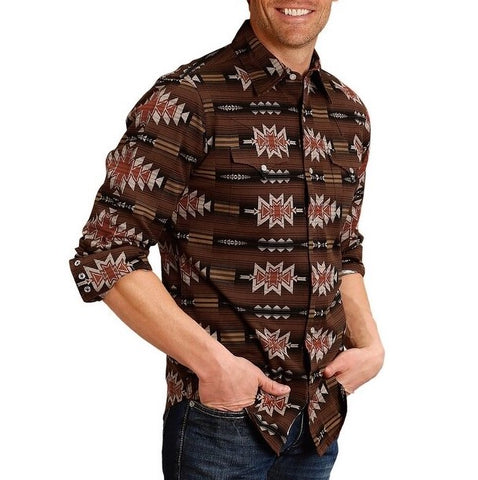 Stetson Men's Brown Blanket Pattern Snap Shirt 11-001-0425-0638 BR