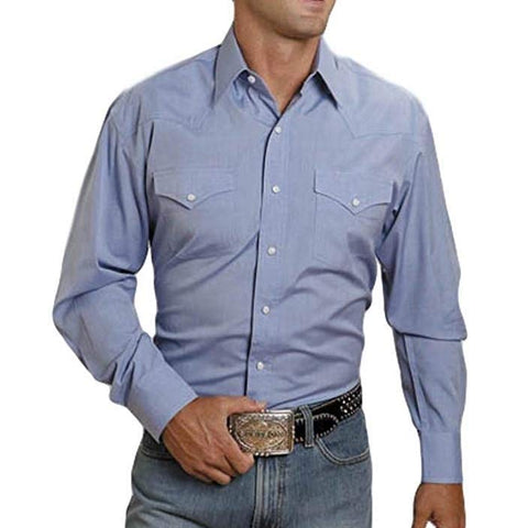 Stetson Men's Light Blue Solid Snap Button Shirt 11-001-0465-0041 BU