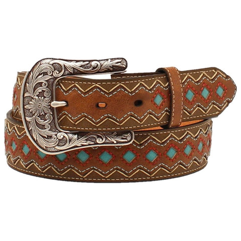 Ariat Ladies Zig-Zag Turquoise Diamond Belt A1518202