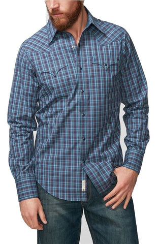 Stetson Men's Blue Plaid Snap Front Button Shirt 11-001-0478-1015 BU