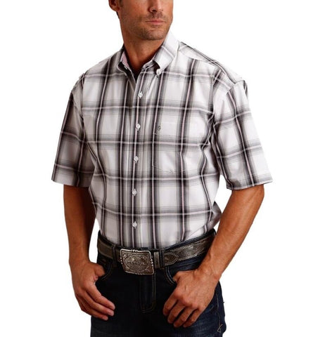 Stetson Men's Black & White Plaid Short Sleeve Shirt 11-002-0579-0490