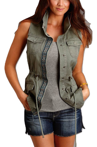 Stetson Ladies Olive Green Cargo Snap Applique Vest 11-074-0565-0428
