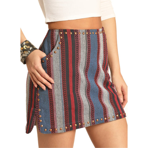 Rock & Roll Cowgirl Woven Stripe Skirt 69-4492
