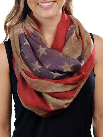 Southern Grace Ladies Vintage American Flag Summer Scarf S1235