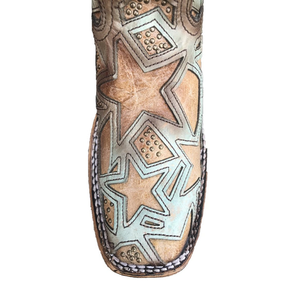 Corral Ladies Turquoise & Brown Stud Star Inlay Square Toe Boots C3519
