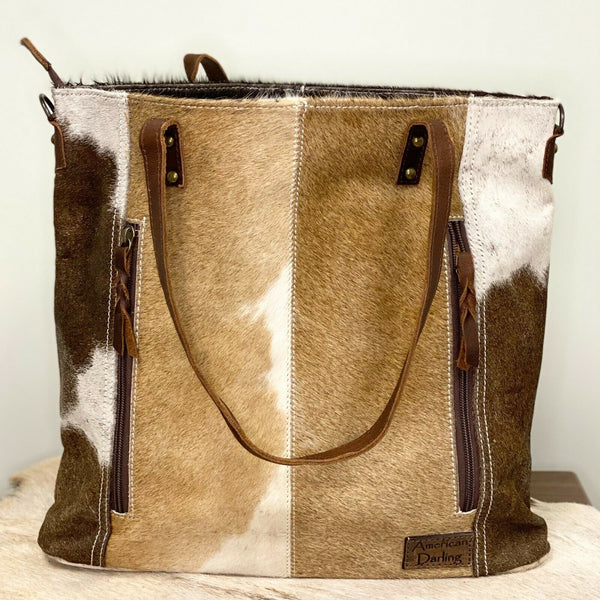 American Darling Brown and White Cowhide Shoulder Purse ADBG106BRW