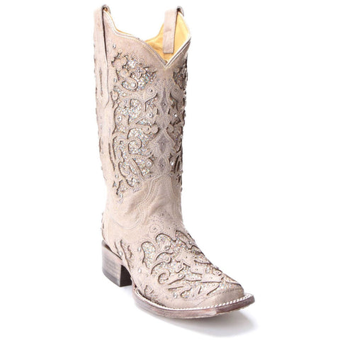 2299366a3c09 Corral Ladies White Glitter Inlay/Crystals Square Wedding Boot A3397 - Wild  West Boot Store
