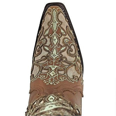 Corral Ladies Brown & Bone Inlay Embroidery & Studs Boots A3318 - Wild West Boot Store